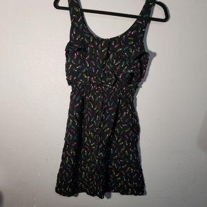 Xhilaration Feather Print Dress- Black